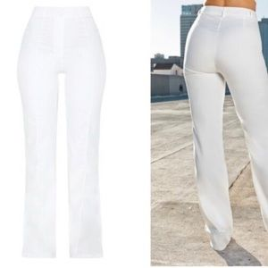 White tailored high waisted pants